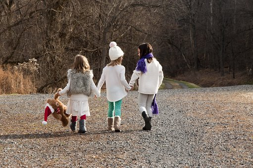 Christmas, Sisters, Walking, Winter, Fall, Nature