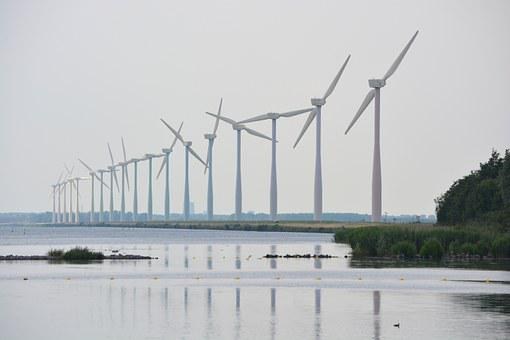 Windmills, Sea, Nature, Wind Energy, View, Netherlands