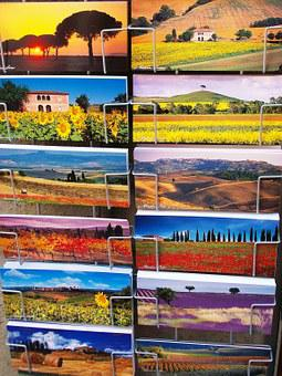 Post, Postcards, Italy, Memory, Souvenir, Colorful