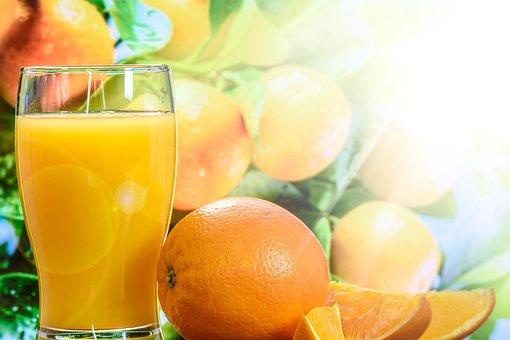 Orange Juice, Cup, Tree, The Background, Green, Fresh