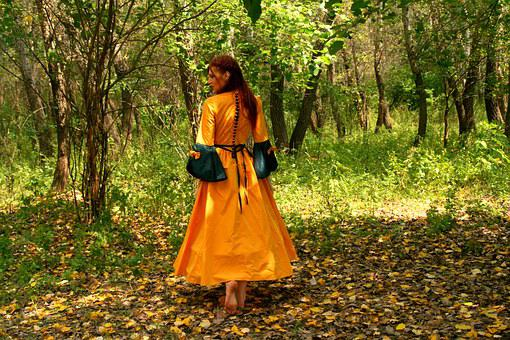 Girl, Princess, Yellow, Autumn, Leaves, Dress, Forest