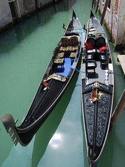 Gondola, Venice, Channel, Italy, Black