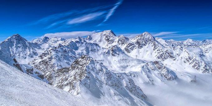 Alps, Mountains, Lift, Panorama, Snow, Austria