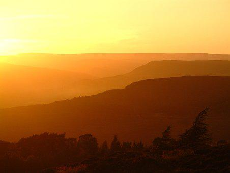 Peak District, Sunset, District, Landscape, Sky