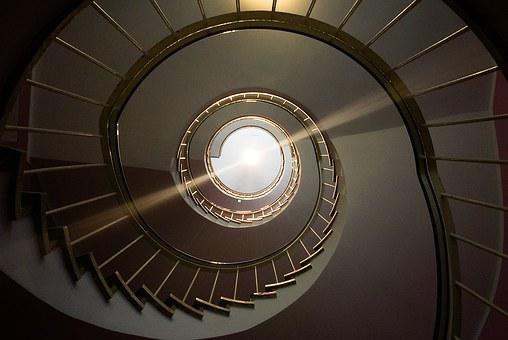 Spiral Staircase, Railing, Gradually, Architecture