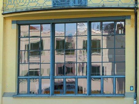Building, Bauhaus Style, Window, Mirroring, Weimar