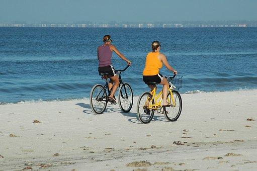 People, Bikes, Bicycle, Exercise, Riding, Beach, Biking