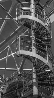 Spiral Staircase, Black And White, London, Thames