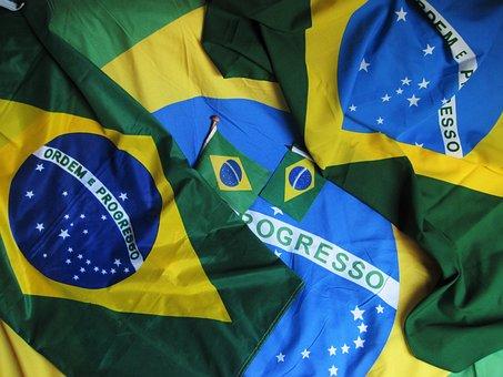 Olympiad In Brasil, Brazilian Flag, Green-blue-yellow