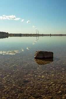 Lake, Stone, Clouds, Chimney, Smoke, Mirroring, Forest