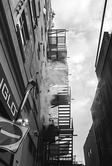 Fire Escape, Stairs, Alley, Dark, Clouds, Fire, Escape