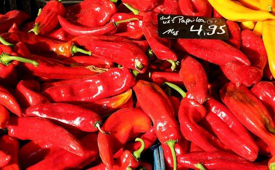 Paprika, Red Pepper, Vegetables, Red, Food, Market, Eat