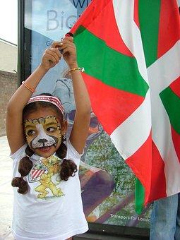 Child, Girl, Flag, Footbal Fan, Face Paited, Basque