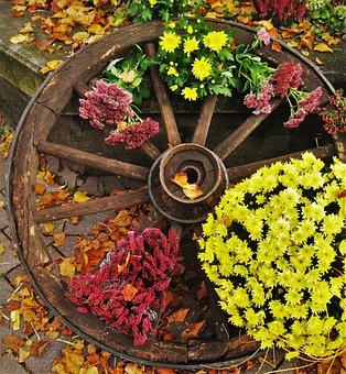 Old Wagon Wheel, Herbstdeko, Farmer's Market, Autumn