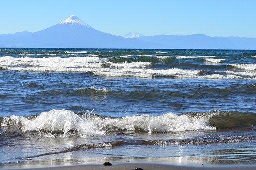 Landscape, Lake, Waves, Volcano, Chile, Osorno
