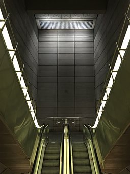 Stairs, Elevator, Metal, Architecture, Staircase