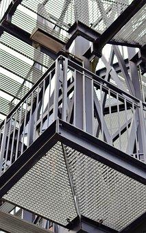 Stairs, Architecture, Railing, Steel, Metal, Gradually
