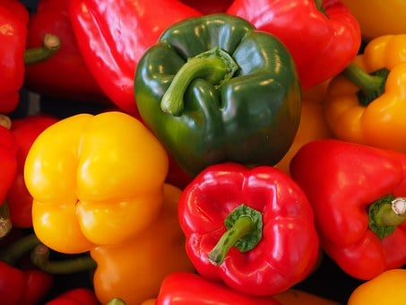 Sweet Peppers, Paprika, Green, Yellow, Red, Healthy