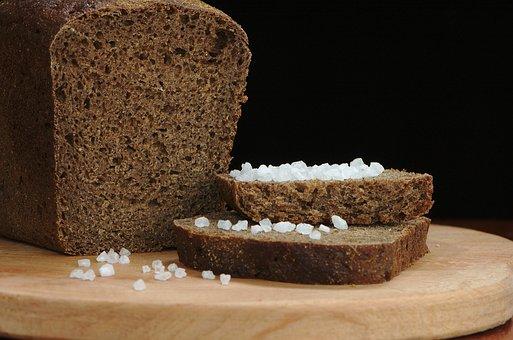 Salt, Bread, Rye, Black, Loaf, Slice, Food, Nutrition