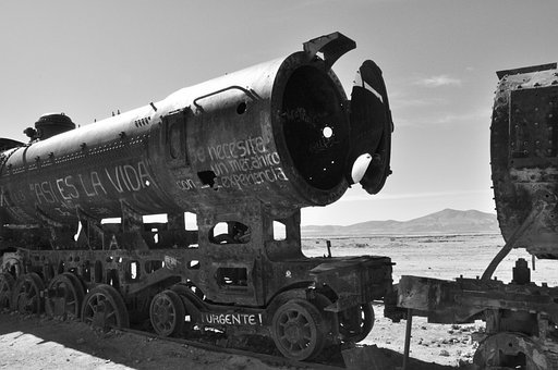 Bolivia, Uyuni, South America, Train, Black And White