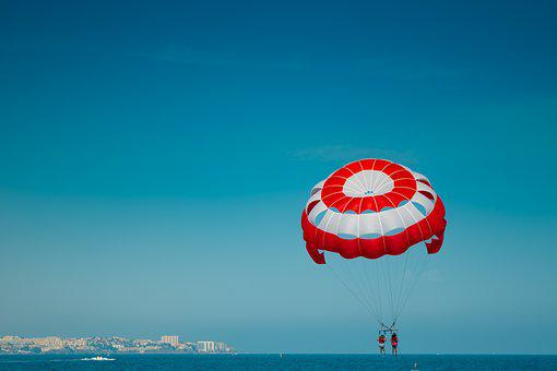 Fun, Balloon, Sport, Summer, Beach, Fly, Red, White