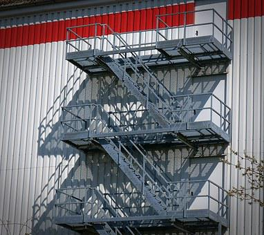 Stairs, Escape Route, Metal, Steel, Staircase Finish