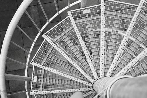Spiral Staircase, Stairs, Iron, Steel, Black And White