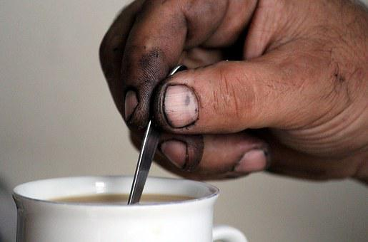Hand, Mechanic, Coffee Break, Cup, Stir, Spoon, Coffee