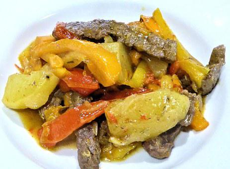 Sweet Pepper Steak, Food, Potato, Onions, Garlic