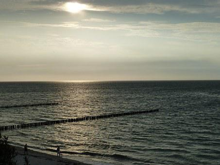 Sunset, Baltic Sea, Nienhagen, Twilight, Sea, Beach