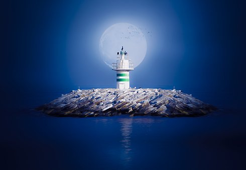 Month, Super Moon, Blue, Sky, Marine, Lighthouse, Cloud