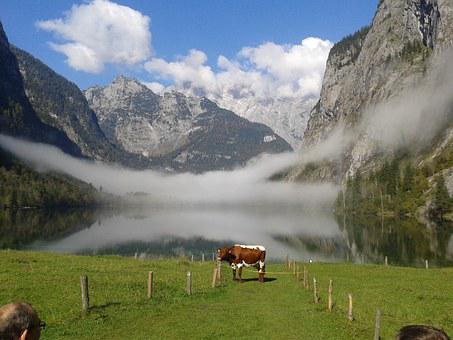 Nature, Landscape, Almsee, Mountains, Clouds