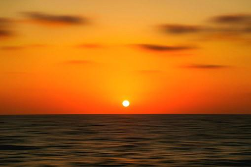 Sea, Sunset, Sky, Orangy, Horizon, Still