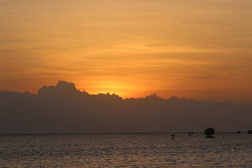 Sunset, Beach, Pari, Orange Sky, Horizon, Nature