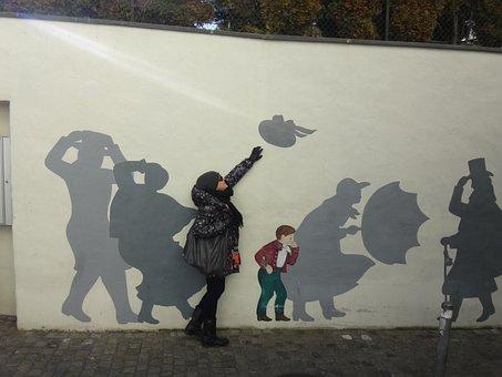 Woman, Hat, Graffiti, Painting, Zurich Wind