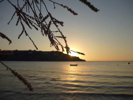 Kínion, Syros, Greece, Beach, Sunset, Sea