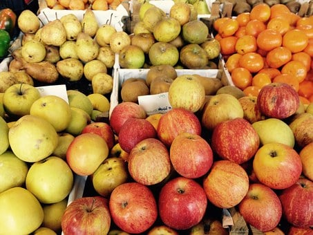 Apple, Market, Vitamins, Fruit, Variety, Colorful, Red