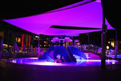 Pool, Hotel, Night, Vacation, Resort, Travel, Water
