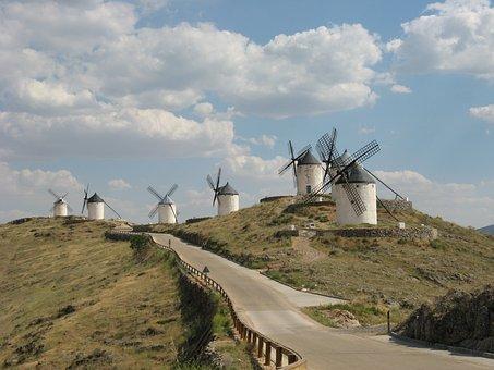 Windmills, Don Quixote, Windmill, Hill, Consuegra