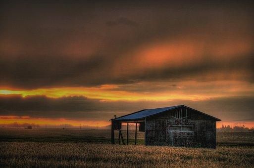 Alberta, Canada, Sunset, Landscape, Sky, Clouds, Barn