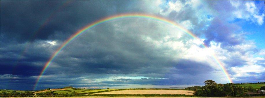 Rainbow, Beautiful, Devon, Nature, Sun, Sunset, Sky