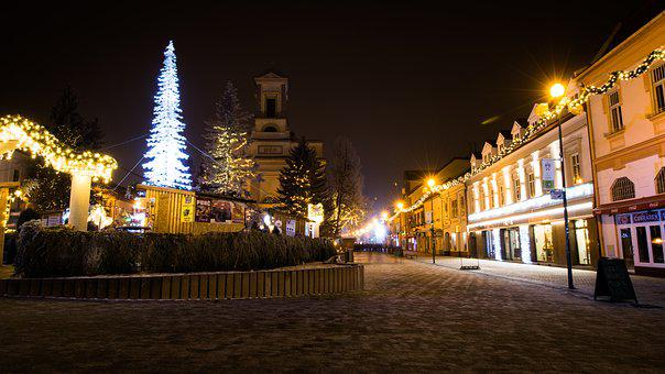 Christmas, Poprad, Slovakia, In The Evening, Night
