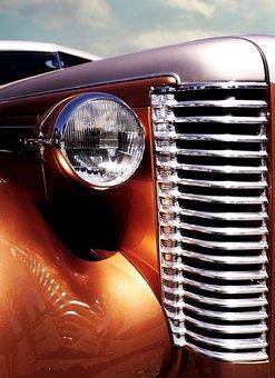 Auto, Oldtimer, Us Car, Collector's Item, Spotlight