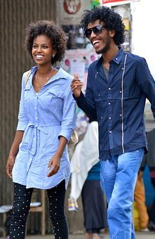 African, Happy, Couple, Smiling, African American