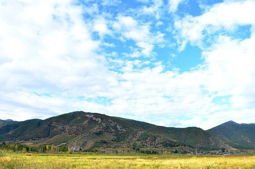 Blue Sky, White Cloud, Alpine, Open Country, Reed