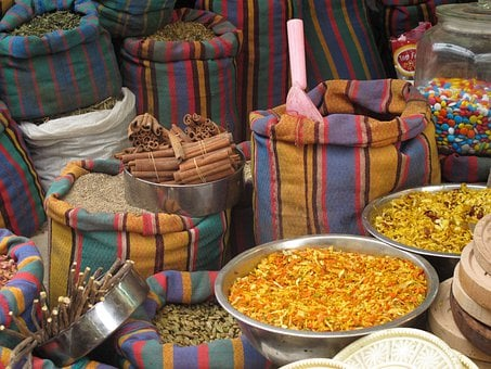 Acco, Acre, Israel, Shuk, Market, Spices, Stripes, Bags