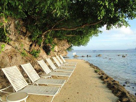 Guam, Beach, Sea, Ocean, Water, Trees, Chairs, Lounges