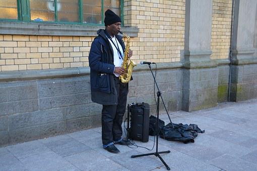 Busking, Begging, Saxophone, African American, Homeless