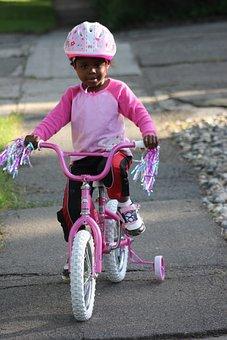 Child Biking, African American Family, Bike, Child