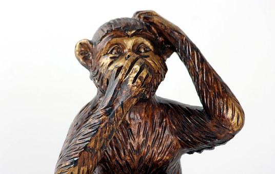 Monkey, Do Not Speak, Symbol, Silence, Mute, Figure